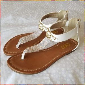 G by Guess White 7.5M Studded Sandals